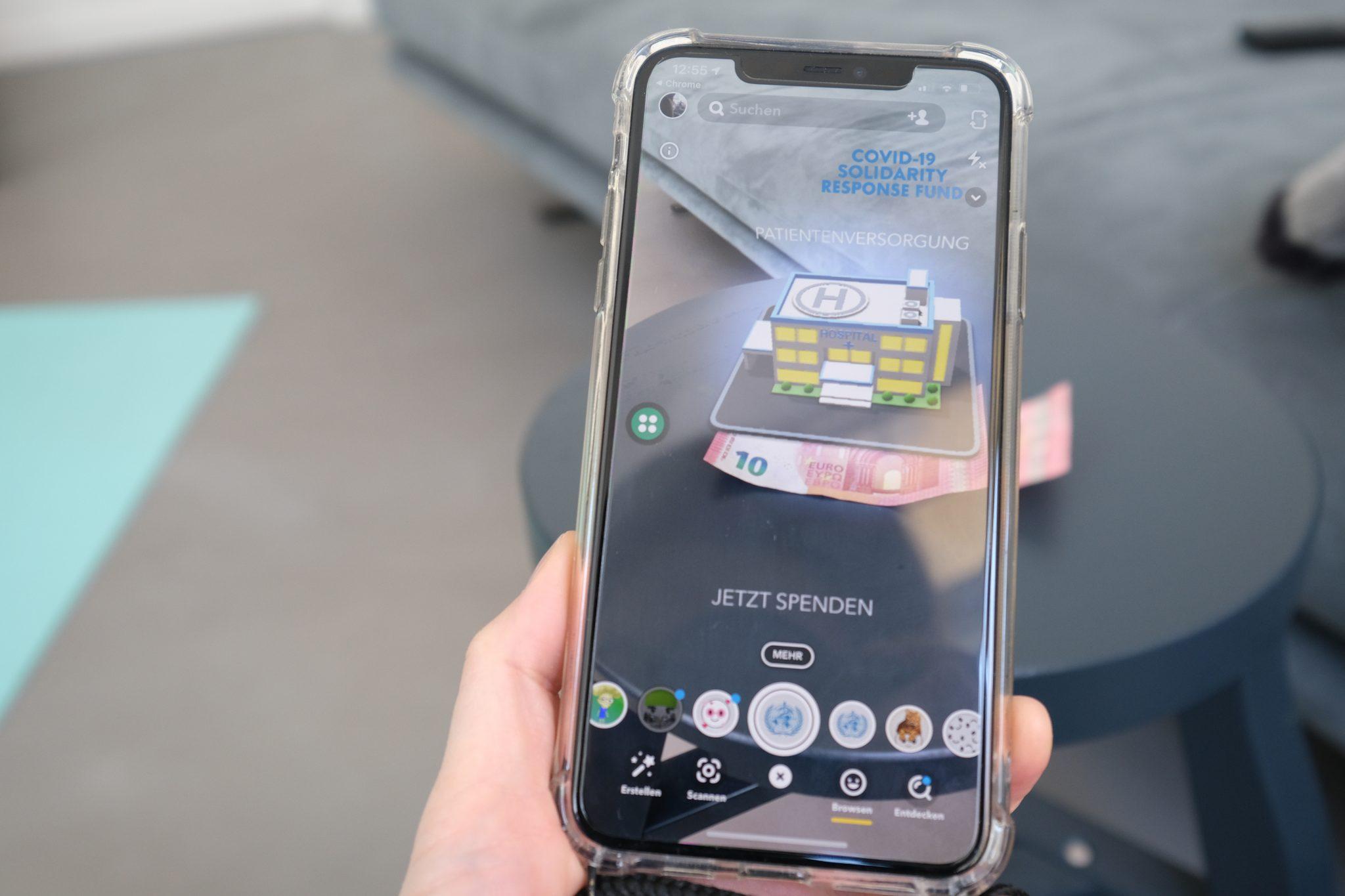 Projekt mit der WHO: Snapchat führt neue Augmented-Reality-Funktion ein